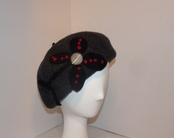Classic French Beret Wool Charcoal Gray Woman's