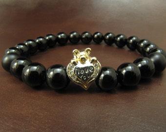 EXPRESS SHIPPING - Silver Onyx & Bracelet, Gold Teddy Bear Heart Bracelet, Womens Yoga Bracelet, Pandora Karma Energy Stretch Bracelet