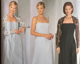 Butterick 6400 - A Line Evening Dress with Princess Seams and Close Fitting Shrug - Size 12 14 16