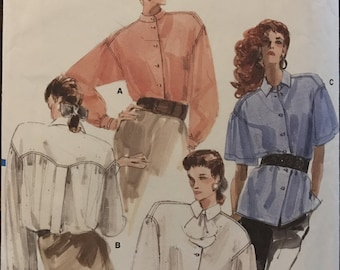 Vogue 7045 - 1980s Blouse with Novelty Back Yoke and Dropped Shoulders - Size 8