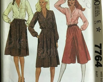 McCalls 7764 - 1980s Separate with Blouse Culottes and Skirt - Size 16 Bust 38