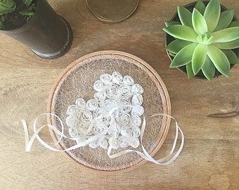 EXPRESS SHIPPING, Ring Pillow Alternative, Wedding Ring Pillow, Ring Holder, Ring Hoop, White Rose, Lace Ring Pillow, Boho Wedding, Lace