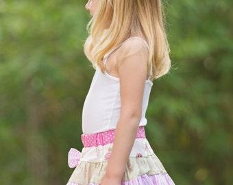 Tea Party skirt. girls skirt. girls floral skirt. ruffle girls skirt. toddler skirt. toddler girls skirt, childrens fashion. pretty skirt