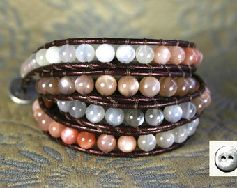 Leather Wrap Bracelet, Moonstone Translucent Ombre fade, 6mm Round Semiprecious Stones, Wraps 4x, Plum Metallic Leather, Pewter Button