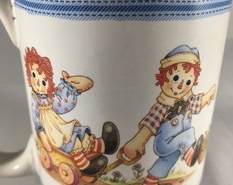 Raggedy Ann and Andy Coffee Mug, Vintage Doll Collectible Coffee Cup by Houston Harvest Gift Products, Ceramic