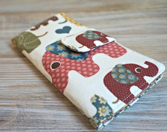 Elephant Wallet - Women's Wallet - 12 Card Slots Large Organizer Wallet - Wallet for Ladies - Handmade Fabric Wallet