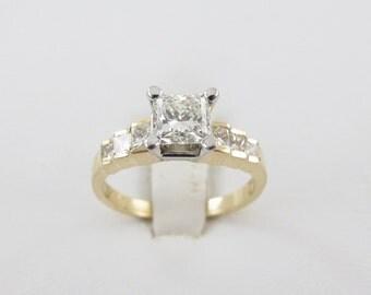 14K Yellow Gold Diamond Engagement Ring 1.50 carats Genuine Diamonds