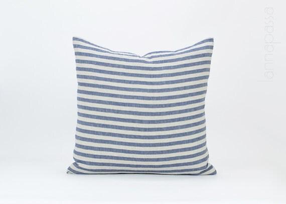 Striped Linen Throw Pillow : Natural Striped Linen Pillow / Throw Cushion Cover 20x20