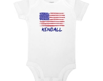 Personalized Name American Flag Red White and Blue Cute 4th of July Memorial Day Baby One Piece