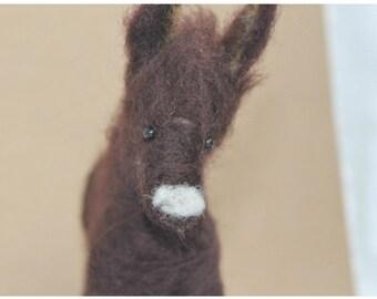 Needle felted donkey | felted wool donkey | soft sculpture
