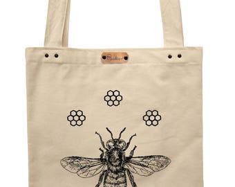Honeybee - hand printed cotton tote bag