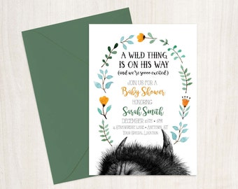 Where the Wild Things are Baby Shower Invitation DIY Printable Customized