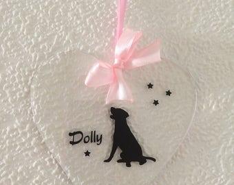 Personalised, Labrador, Silhouette, Hanging Vinyl Heart