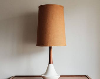 Mid Century Danish Teak & Ceramic Table Lamp - Treasury Pick