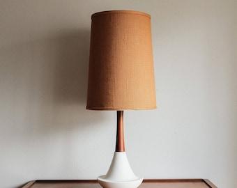 Mid Century Danish Teak & Ceramic Table Lamp - Treasury Pick