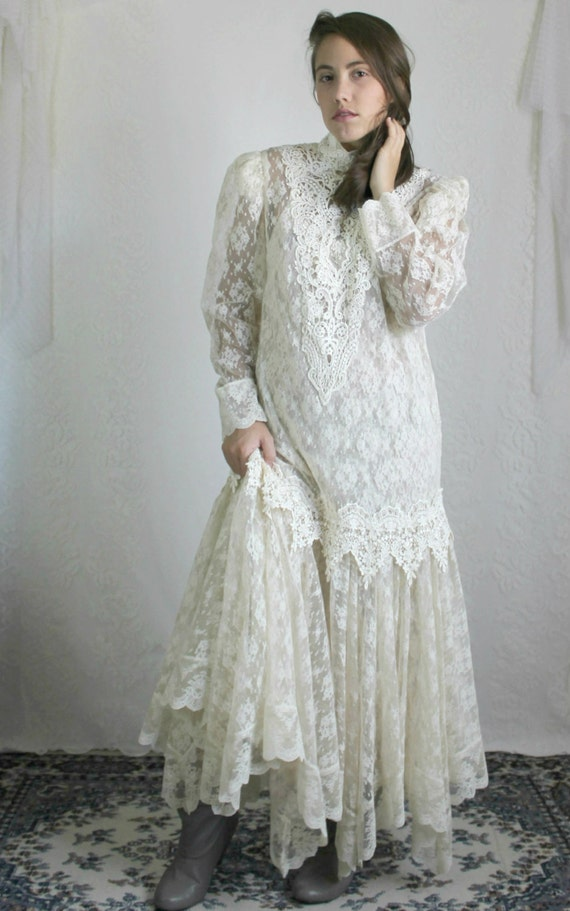 80s sheer lace drop waist wedding dress vintage 20s flapper for Drop sleeve wedding dress