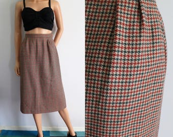 Wool tweed houndstooth winter skirt, french vintage, tan brown & green, high waisted, straight cut, knee midi length, small