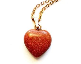 Vintage Goldstone Heart Necklace Petite Pendant Gold Glitter Valentines Day Romantic Gift Simple Southwestern Boho Style