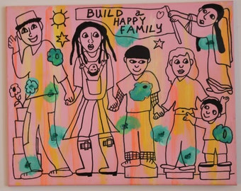 Build a Happy Family painting/wall hanging