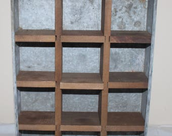 Vintage Industrial Rustic Wood and Metal Divided Drawer Trays/Shadow Box