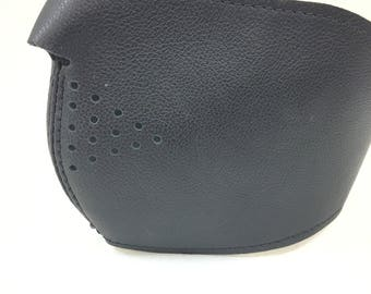 """Leather Riding Mask, Black with Leather Lining, One Size fits Most. 20"""" Diameter From Bridge to Back."""