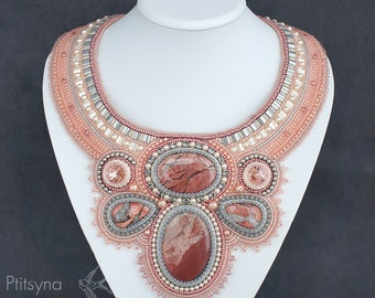 Pink necklace bead embroidery necklace with swarovski  bead embroidered necklace with natural stones gems bead embroidery jewelry