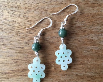 Jade Earrings - Carved Light Green Jade Chinese Lucky Charm Endless Knot (盤祥結) with Dark Green Jade Bead 925 Sterling Silver Earrings
