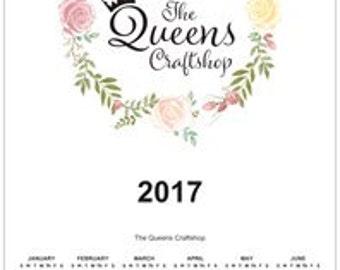 Poster Calender The Queens Craftshop 2017 Calender