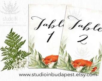 FOX Wedding Table Numbers 1-20, Printable Table sign, woodland table number, forest table numbers, fox table sign, fox wedding theme
