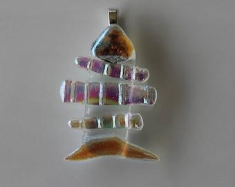 Fish Bones Dichroic Fused Glass Pendant
