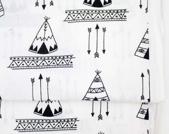 Black and White Teepee, 100% Cotton, Quilting Fabric, Tribal Design