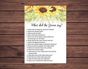 What did the Groom say Shower Game, Sunflowers What did he say about his bride Sunny Sunflowers Instant Download PDF Printable 212