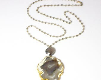 Large Agate Slice Pendant Necklace with Labradorite Beaded Chain and Crystal Accents