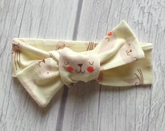 Cat Knotted Headband / Toddler Headband / Baby Headband / Jersey Knit Fabric / Kitty Cat / Adjustable Knot Headband / Cat Lover