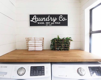 Laundry Co - Joanna Gaines | Laundry Sign |  Fixer Upper Inspired | Farmhouse Vintage Laundry Sign