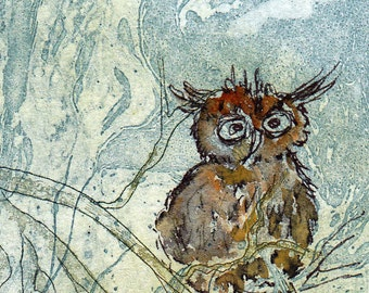 OWL forest nature ACEO art card original etching illustration graphic print collecting art Valentine's day wedding birthday gift