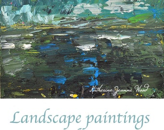 Art on Sale Landscape Oil Painting Fine Art Palette Knife Painting Green Teal Blue Sky Plein Air Modern Wall Hanging Wall Decor No 3