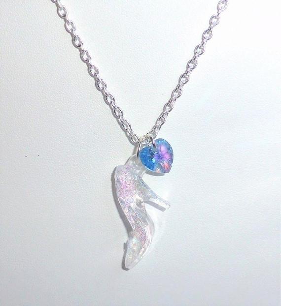 Cinderella swarovski glass slipper charm necklace crystal like this item aloadofball Choice Image