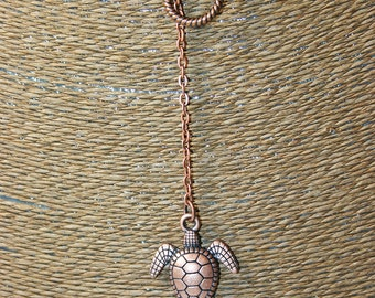 Turtle Necklace in Antiqued Copper