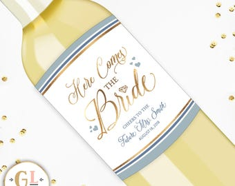 Custom Bridal Shower Labels, Here Comes the Bride Party Favors, Wedding Shower Favor, Miss to Mrs Engagement Party Decorations, Wine Labels