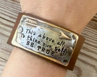 This above all; To thine own self Be True. Mixed Metal Leather Cuff Bracelet. Leather Cuff. Arrow Cuff.