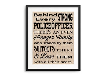 Police Officer Gift, Behind Every Strong Police Officer, Gift from Family