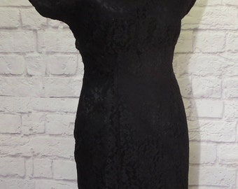 """Size 8 1980s Black Short Sleeve Fitted Shift Satin Dress with Illusion Neckline, Open Back, Empire Waist, """"Gunne Sax by Jessica McClintock"""""""