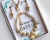 Flower girl bracelet Personalized Flower girl gift for girl Pearl bracelet Initial bracelet Little girl Bracelet Flower Girl Gift Ideas