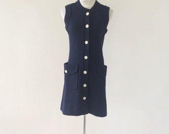 VTG Long Knit Navy Blue Button Up Vest / Dress by I Magnin