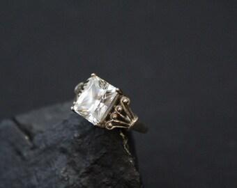 Sterling CZ Boho Gemstone Ring, Emerald Cut Ring, Sterling Silver Zirconia Ring, Emerald Cut Gemstone, Bohemian Jewelry