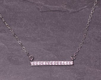 CZ BAR Sterling Silver Necklace-CZ Bar Connector Rhodium Necklace-Pave Bar Silver Choker-Sterling Crystal Bar Necklace-Bridesmaids,Birthdays