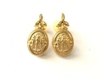 Vintage Grecian Mythology Three Fates Gold Plated Earrings