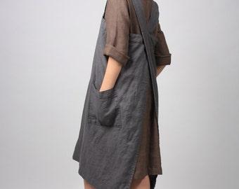 Linen Pinafore apron, Square Cross Linen Apron, Linen tunic apron, Work dress, Japanese Apron, Washed long apron with deep pockets, Linen