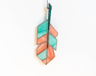 SALE 15% Quilted Stainted Glass Feather (Originial 50.00)